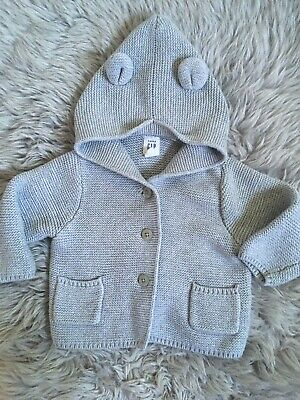 Gap Baby Girls Grey Hooded Knit Cardigan 6-12 Months Excellent Condition