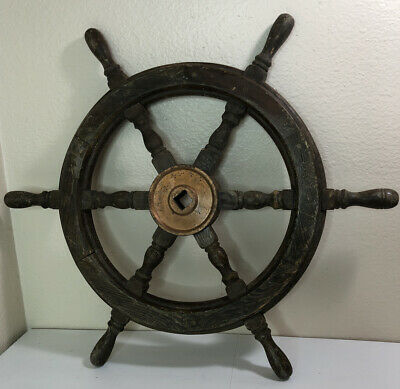 "24"" Nautical Wooden Ship Steering Wheel"
