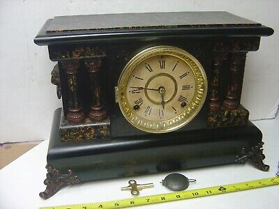 Antique Black Faux Marble SETH THOMAS ADAMANTINE Mantel Clock, Clean & Working