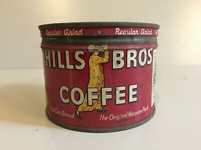 Vintage Hills Bros Coffee Small ½ Lb Tin Can With Lid