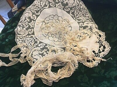 moprimitivepast vintage lot laces trims doilies 3 yds turtle trim dolls estate