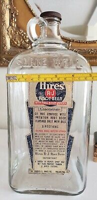 Antique 1950 Hires Root Beer Concentrate 1 Gallon Clear Bottle