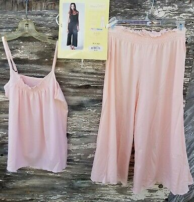 Lemon Tart 2 Piece Smocked Set - Cami and Cropped Pant, Med**NEW**