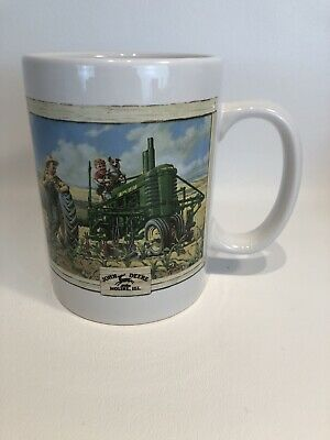 John Deere Moline, ILL Coffee Mug 2 Farm Scenes Boy on Tractor Fishing #31058