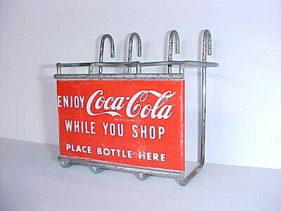 Vintage 1950's Shopping Cart Coca Cola Bottle holder, Tom's Store Sign
