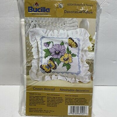 Plaid Bucilla Butterfly /& Flowers Decorative Pillow Stamped Cross Stitch Kit