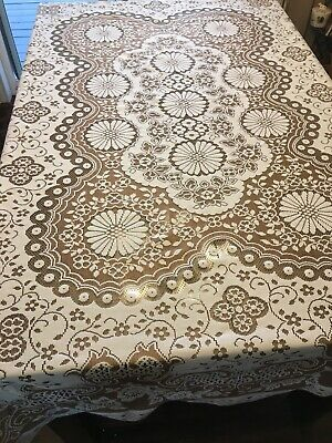 Vintage Large Floral Open Lace Tablecloth 70x88 Creamy White and Brown