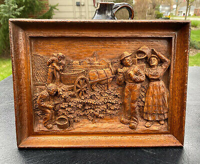 BLACK FOREST wall plaque VINEYARD Grape Harvesting Wood Carving H MARIOT