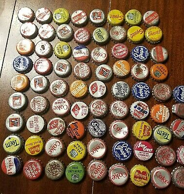 large lot pop soda glass bottle caps metal cork O-So Grape squirt Coke 7up Cream