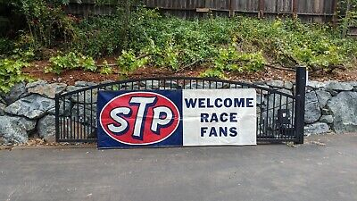 Stp Welcome Race Fans - Advertising - Banner Sign Man Cave Vintage