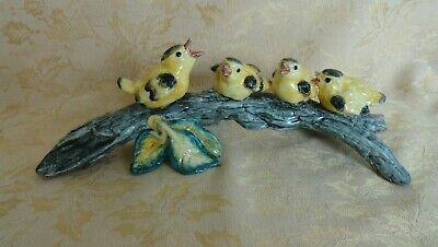 Vintage Porcelain Four Yellow Birds on Branch Figurine
