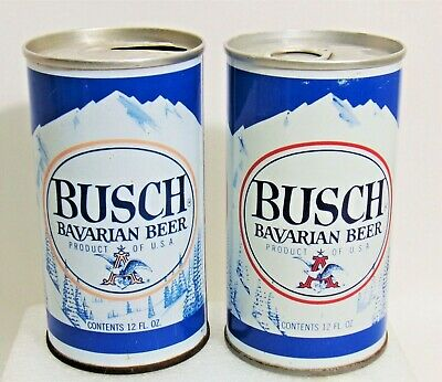 2 Vintage Busch Beer Cans Steel Pull Tab Bottom Open & Air Filled 1963 1973 NICE