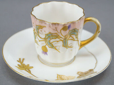 Charles Ahrenfeldt Hand Painted Floral Gold Demitasse Cup & Saucer C 1886 - 1910