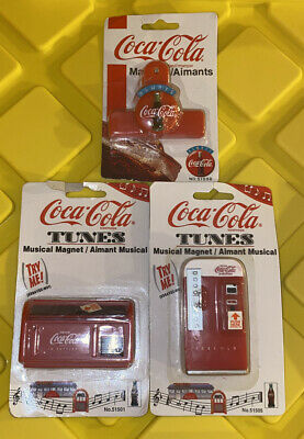 Coca-Cola Tunes Magnets Lot of 3 Vintage Rare Music Magnet NEW SEALED 1997