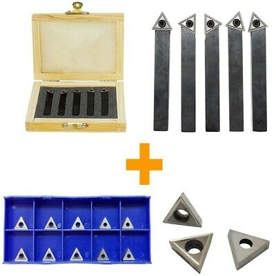 1/4'' Indexable Carbide Insert Lathe Turning Tool Bit + 10 Pc Tips COMBO - 5 PC