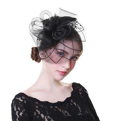 Ladies Mesh Flower Feather Fascinator Headband Hats Wedding Prom Cocktail Party