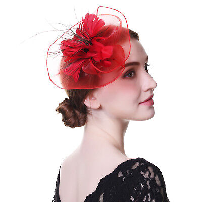 Ladies Flower Hair Clips Feathers Top Hat Fascinator Royal Ascot Race Wedding