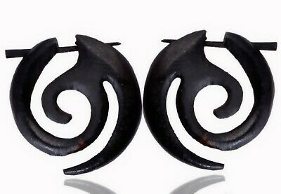 Tibetan Handmade Black Wooden Tribal Boho Wood Fake Gauge SINGLE Earring WER295A