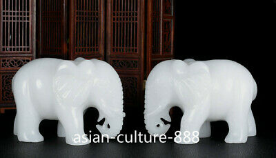 """6"""" China White Jade Hand-Carved Fengshui Elephant Auspicious Animal Statue Pair"""