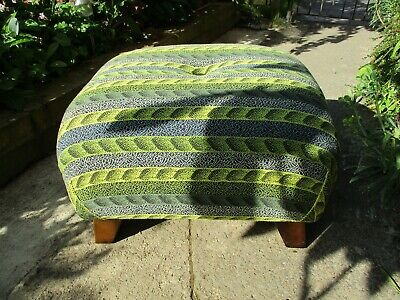 Fab Vintage Retro Reupholstered Large Squishy Green & Yellow Foot Stool Pouffe