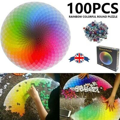 Jigsaw Puzzle 1000 Pieces Colorful Rainbow Round Educational Puzzle Adult Kid To
