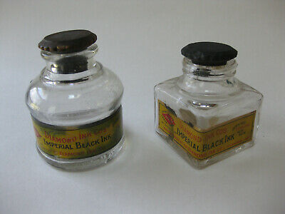 2 Antique Diamond Ink Co. Imperial Black Fountain Pen Ink Well Bottles
