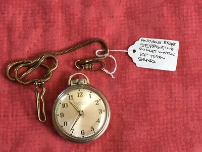 "Vintage, Westclox  Pocket Ben  Men's Pocket Watch W Serpentine 14"" Chain Works"