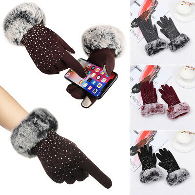 Warm Plus Velvet Faux Fur Gloves Touch Screen Mittens Cashmere Gloves Shiny