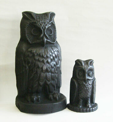 Unusual Country Style Reclaimed Cast Iron Owl & Owlet Door Stops / Door Porters