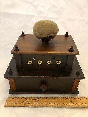 Shaker Sewing box, thread holes, drawer, spool & tape measure, pincushion wood