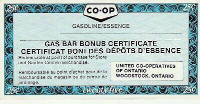 CO-OP Gas Bar, Woodstock, ON 25 Cent Coupon