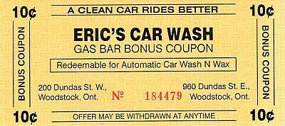 Eric's Car Wash, Woodstock, ON 10 Cent Coupon