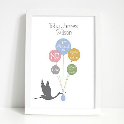 Personalised Print New Baby Boy Girl New Born Christening Gifts