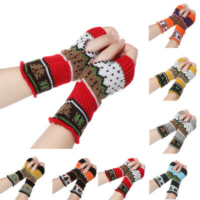 Warm Elastic Christmas Tree Fingerless  Mittens Long Knitted Gloves Arm Warmers