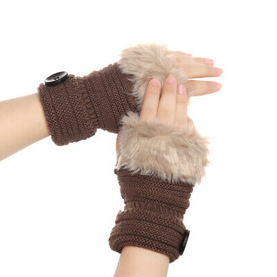 Fur Thick Warm Soft Knitted Gloves Arm Warmers Candy Color Fingerless Mittens
