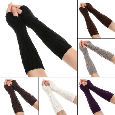 Soft Elastic Long Knitted Gloves Fingerless  Mittens Candy Color Arm Warmers