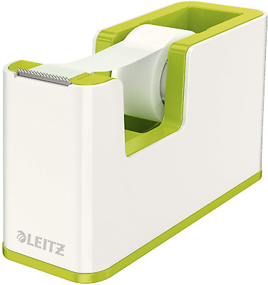 Leitz  53641064 Tape Dispenser, Heavy Base with Tape, Wow Range, White/Metallic