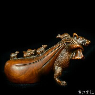 Collectable China Old Boxwood Hand-Carved Mouse & Wealth Bring Luck Decor Statue