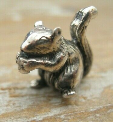 A Very Sweet Tiny Sterling Silver Squirrel Statue / Figurine - Miniature