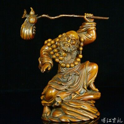 Collectable China Old Boxwood Hand-Carved Master Of Zen Moral Delicate Statue