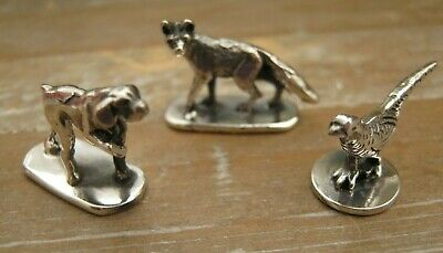 Trio Of Miniature Sterling Silver Hunting Figures Pointer - Fox - Pheasant Game