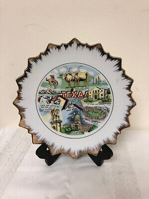 Vintage Texas The Lone Star State Gold Trim Souvenir Collector Plate