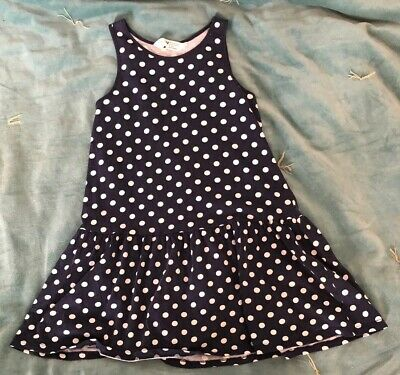 H & M girl's navy blue with spots summer dress age 6-8 years ans EUR 122/128