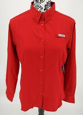 NWT Women's PFG Long Sleeve Tamiami Shirt Snap Front Size Medium Red
