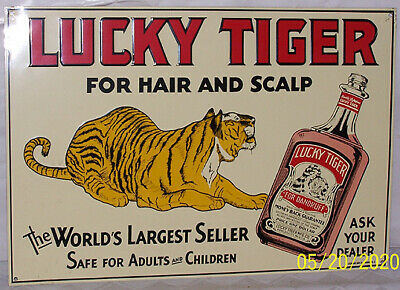 Vintage Lucky Tiger For Hair & Scalp Embossed Metal Sign