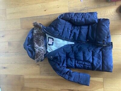 M&S marks and spencers Girls Navy School Coat jacket hood age 7-8 Excellent