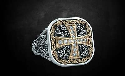 Cross Pattern Ancient Ring 925 Sterling Silver Engagement Ring With Gold Finish