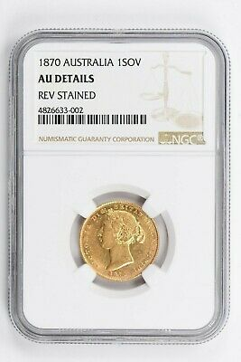 1870 Australia 1 Sovereign NGC AU DETAILS, REV STAINED Witter Coin