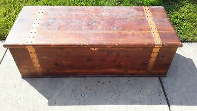 Antique Brass-Banded Solid Plank Cedar Chest w Sliding Top Tray