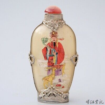 Collectable Old Miao Silver Armour Glass Paint Immortal Bring Luck Snuff Bottle